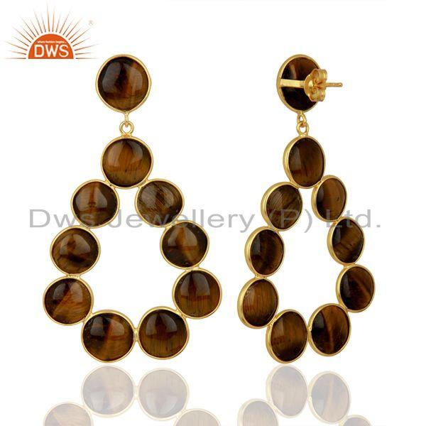 Suppliers Yellow Tiger Eye Dangle 18K Yellow Gold Plated 925 Sterling Silver Earrings