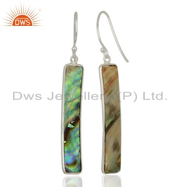 Suppliers Abalone Shell Rectangle 92.5 Sterling Silver Dangle Earrings Gemstone Jewellery