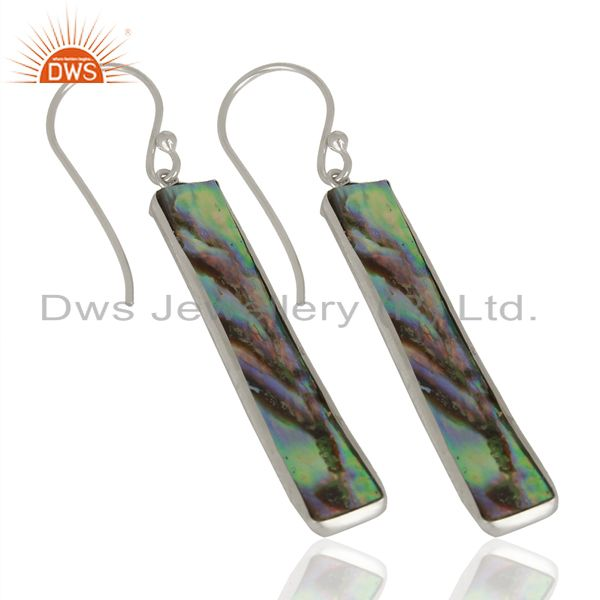 Suppliers Abalone Shell Rectangle Sterling Silver White Rhodium Plated Dangle Earrings