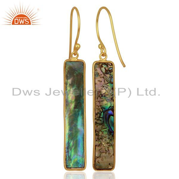 Suppliers Abalone Shell Rectangle 92.5 Sterling Silver 18K Gold Plated Dangle Earrings