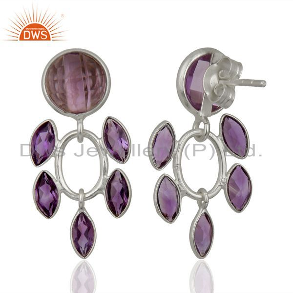 Suppliers Natural Amethyst Gemstone Sterling Silver Fashion Earrings Jewelry