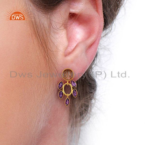 Suppliers New Designer Natural Amethyst Gemstone Gold Plated Silver Earrings