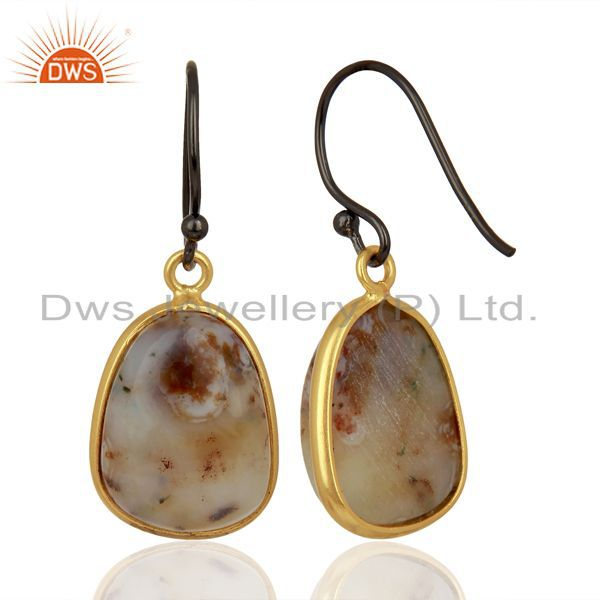 Suppliers Yellow Gold Plated 925 Silver Ocean Jasper Gemstone Earrings Jewelry