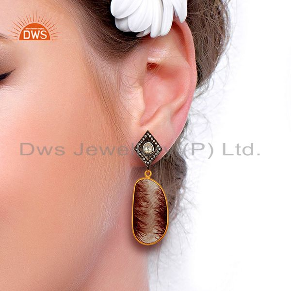 Suppliers Gold Plated Rutile Gemstone 925 Silver CZ Earrings Manufacturer