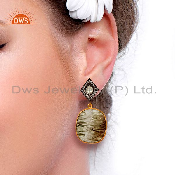 Suppliers White Zircon Rutile Gemstone Silver Earrings Supplier Jewelry