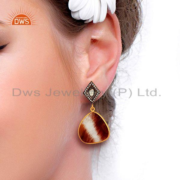Suppliers Wholesale Rutile Gemstone Gold Plated 925 Sterling Silver Cz Earrings