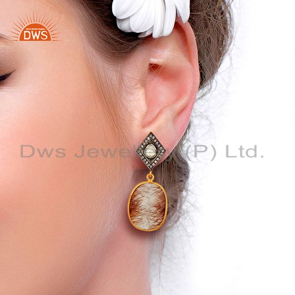 Suppliers New Arrival Gold Plated Silver Rutile Gemstone CZ Earrings Jewelry