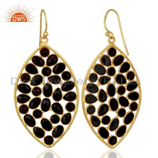 Suppliers BlackOnyx Marquise Shape Handcrafted Gold Plated Sterling Silver Earring