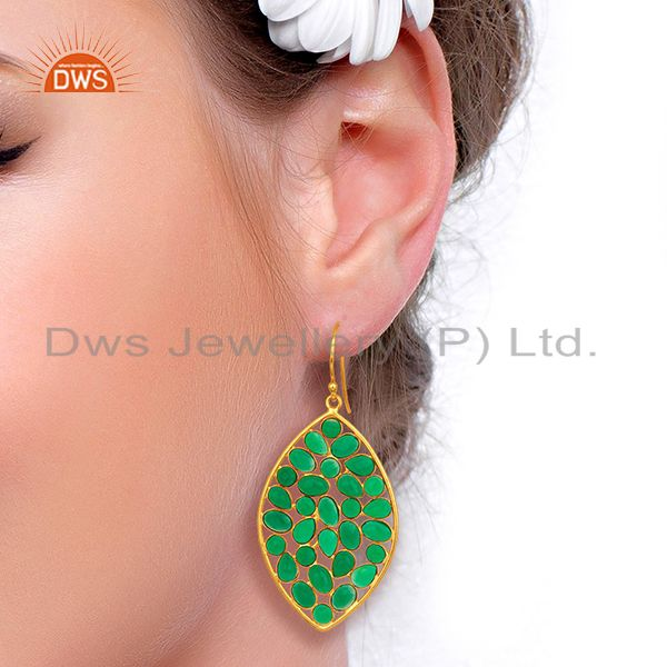 Suppliers GreenOnyx Marquise Shape Handcrafted Gold Plated Sterling Silver DesignerEarring