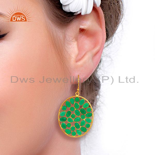 Suppliers Green Onyx Handcrafted Dangle Gold Plated 92.5 Sterling Silver Designer Earring