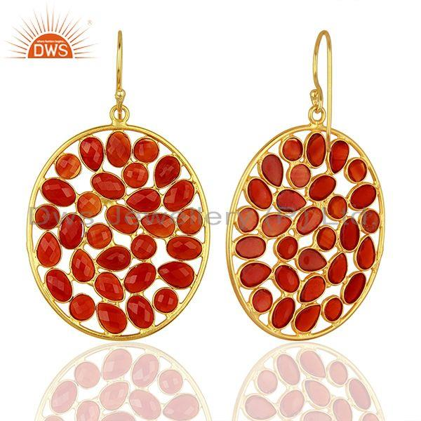 Suppliers Red Onyx Handcrafted Dangle Gold Plated 92.5 Sterling Silver Designer Earring