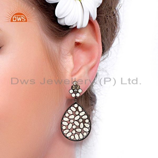 Suppliers Black Rhodium Plated Silver CZ Gemstone Earrings Supplier Manufacturer
