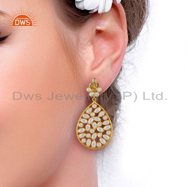 Suppliers White Zircon Gemstone Gold Plated Silver Earring Supplier Manufacturer