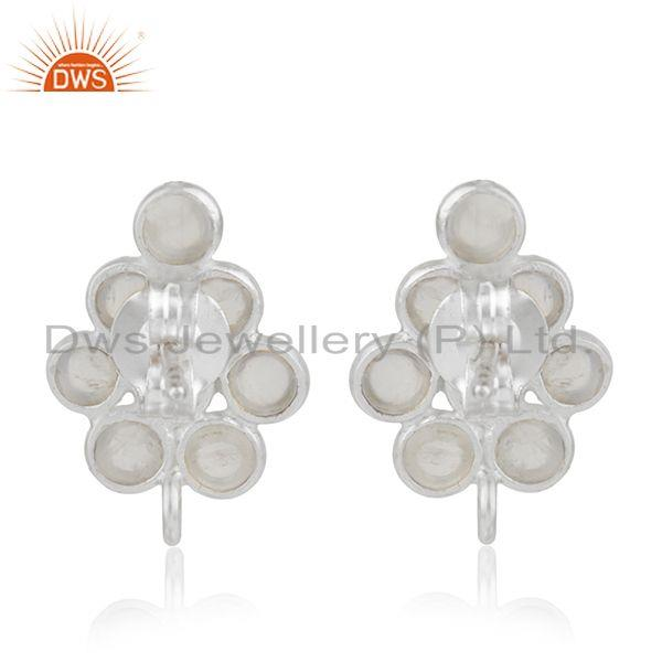 Suppliers Sterling Fine Silver Rainbow Moonstone Stud Earrings Findings Manufacturer India