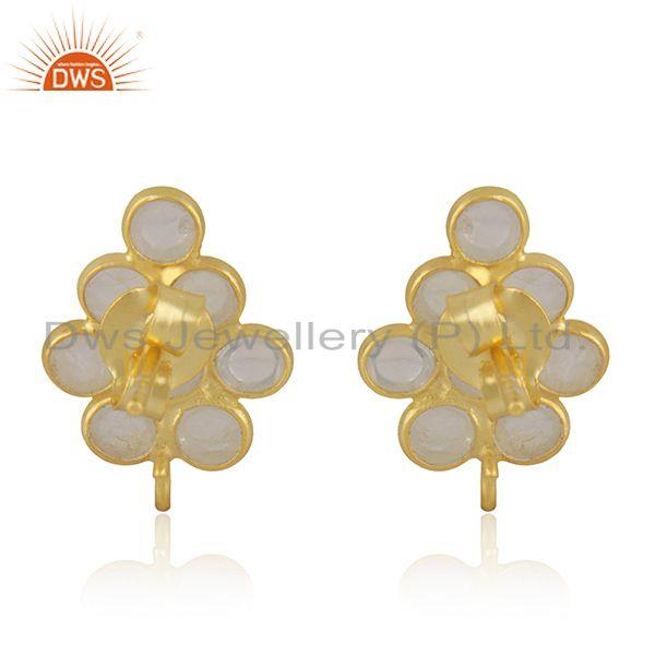Suppliers Rainbow Moonstone Gold Plated 925 Silver Findings Stud Earrings Manufacturer