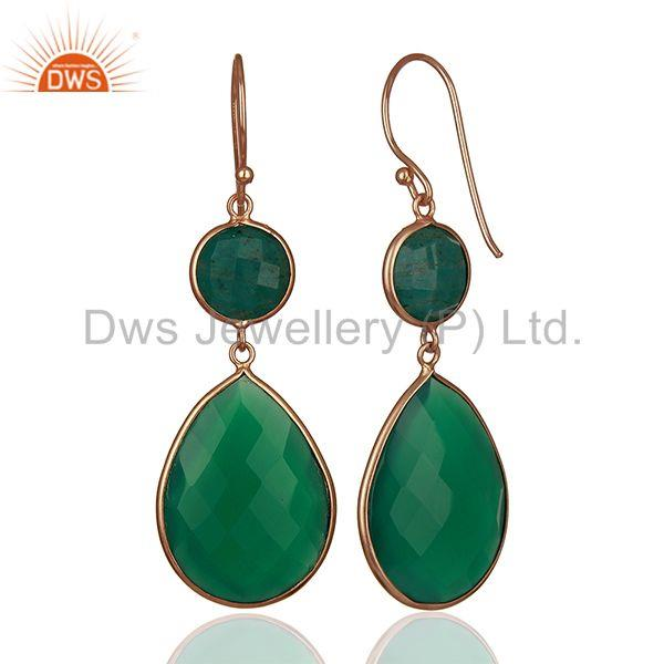 Suppliers Green Gemstone Rose Gold Plated 925 Silver Dangle Earrings Suppliers