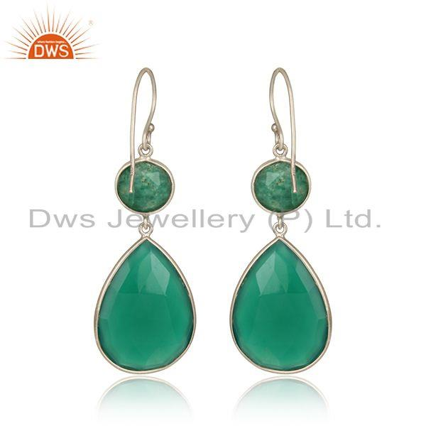 Designer of Green onyx amazonite dangle in rhodium on silver 925