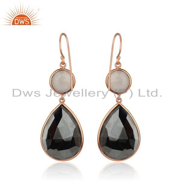 Suppliers Dyed Ruby Lemon Topaz Rose Gold Plated Silver Dangle Drop Earring