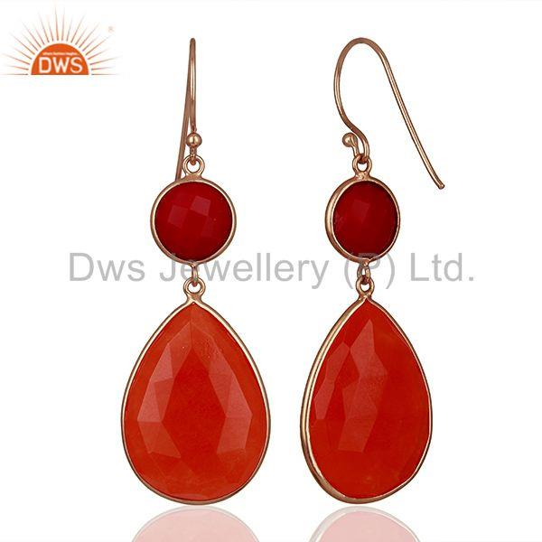 Suppliers Red Gemstone Rose Gold Plated Dangle Earrings Jewelry Manufacturer