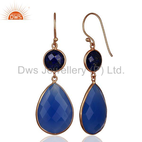 Suppliers Rose Gold Plated 925 Silver Blue Gemstone Dangle Earrings Manufacturer