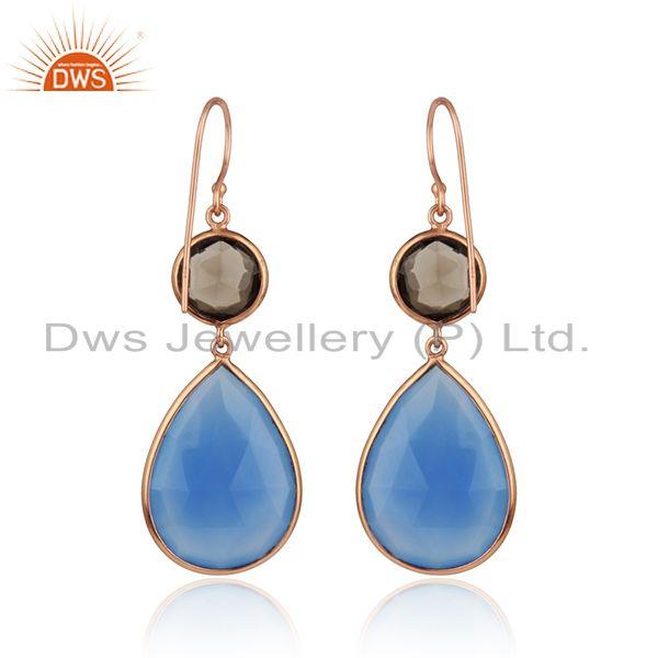 Suppliers Smoky Quartz Blue Chalcedony Gemstone Rose Gold Plated Earrings