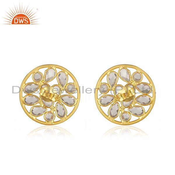 Suppliers Floral Design 925 Silver Yellow Gold Plated Round Stud Earrings Manufacturer