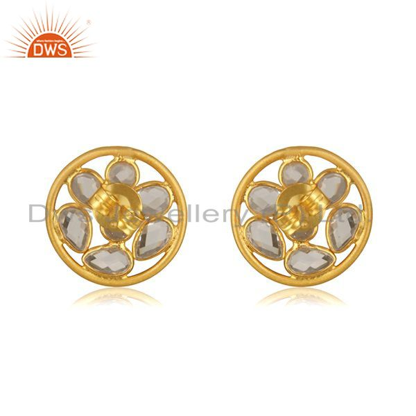 Suppliers White Zircon Yellow Gold Plated 925 Sterilng Silver Stud Earrings wholesale