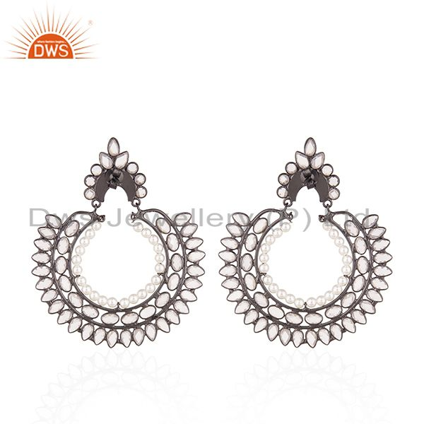 Suppliers Black Rhodium Plated 925 Silver Zircon and Pearl Earrings for Womens