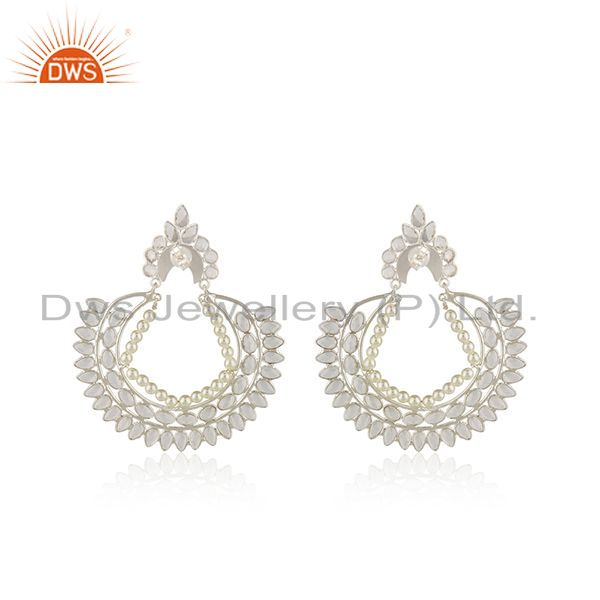 Suppliers Handmade White Zircon 925 Fine Silver Pearl Earrings Wholesaler from India