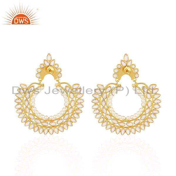 Suppliers White Zircon and Pearl Gemstone Gold Plated 925 Silver Traditional Earrings