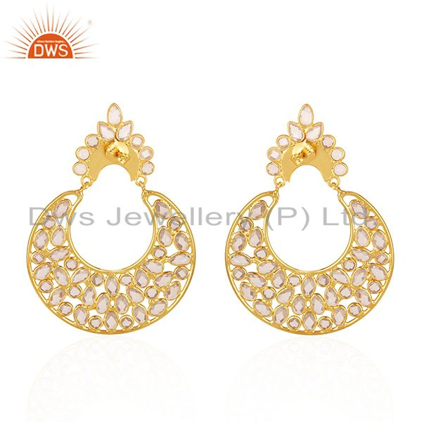 Suppliers 14k Gold Plated 925 Silver White Zircon Dangle Earrings Jewelry Manufacturer
