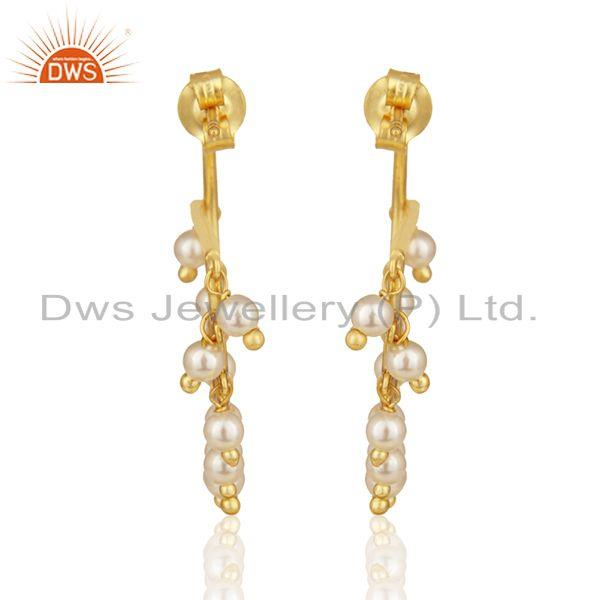 Suppliers Gold Plated Sterling Silver Natural Pearl Gemstone Dangle Earrings Wholesale