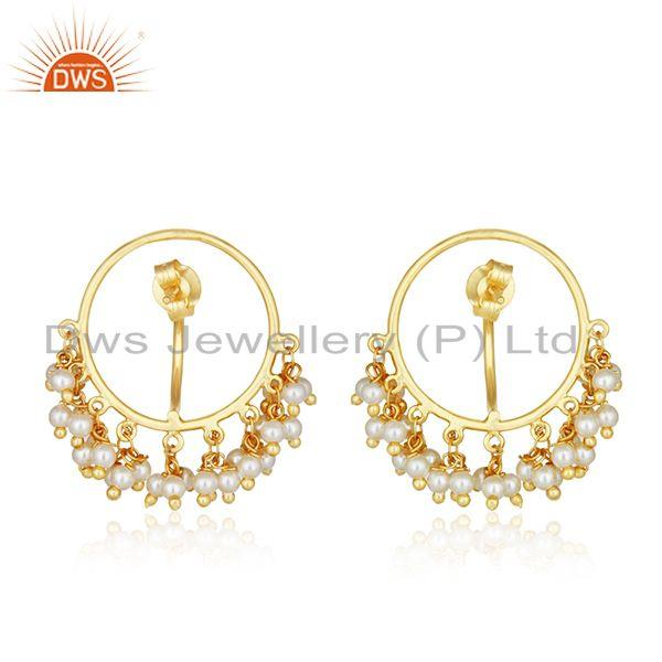 Suppliers Natural Pearl Gold Plated 925 Silver Designer Earrings Manufacturer of Jewelry
