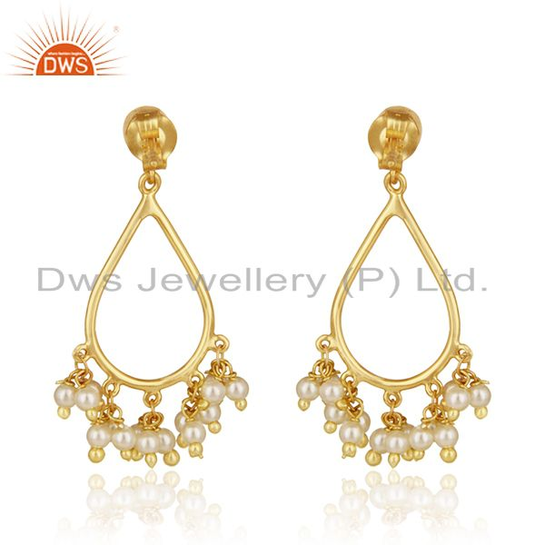 Suppliers 14k Gold Plated Sterling Silver Natural Pearl Traditional Earrings for Wedding