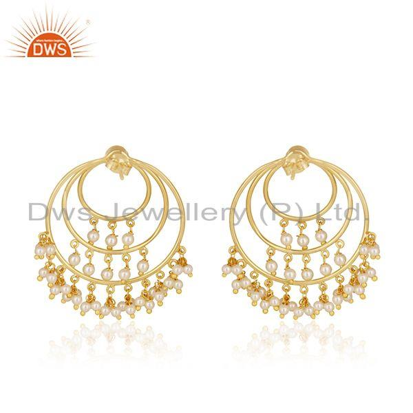 Suppliers Natural Pearl Gold Plated Sterling Silver Traditional Earrings For Wedding