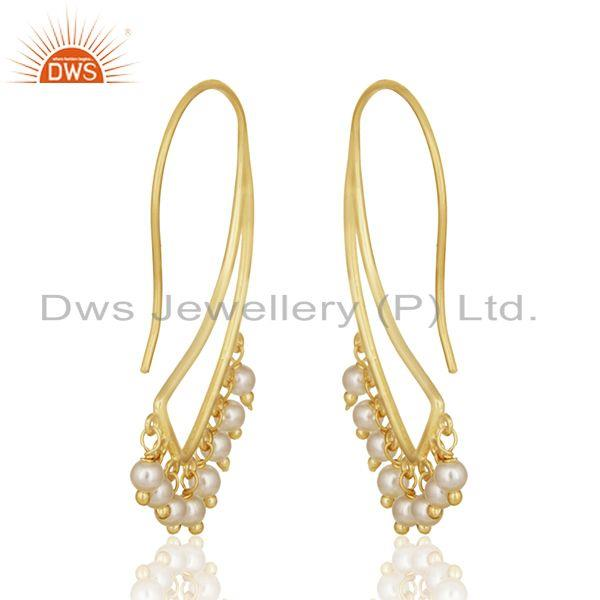 Suppliers New Arrival Gold Plated 925 Silver Natural Pearl Traditional Earring For Wedding