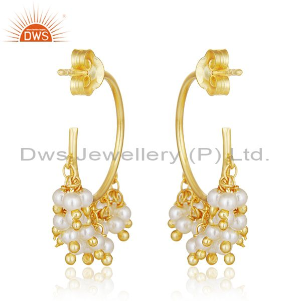Suppliers Natural Pearl Gold Plated 925 Silver Designer Dangle Earring Manufacturer Jaipur
