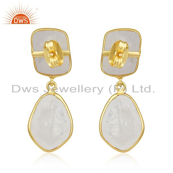 Suppliers Rainbow Moonstone Gold Plated Brass Fashion Handmade Earrings Manufacturer India