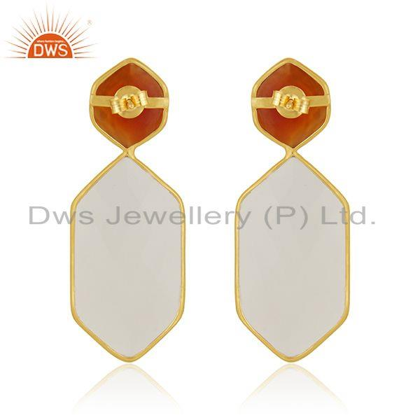 Suppliers Carnelian and White Chalcedony Gemstone 925 Silver Earrings Manufacturer