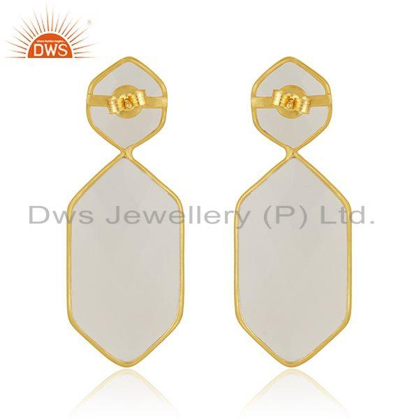 Suppliers White Chalcedony Gemstone Gold Plated Sterling Silver Handmade Earrings Supplier