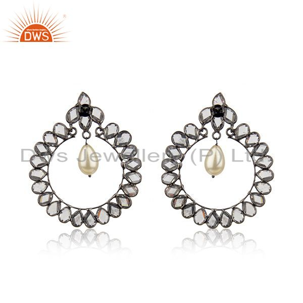 Suppliers CZ Natural Pearl Gemstone Silver Earring Jewelry Supplier