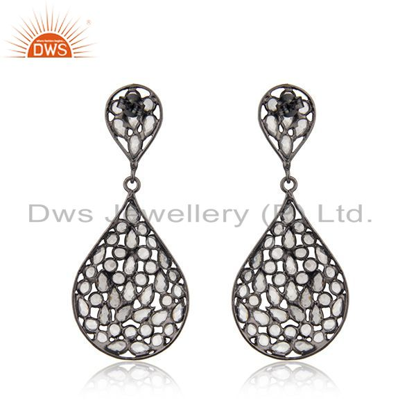 Suppliers Rhodium Plated Silver CZ Beaded Drop Earring Jewelry