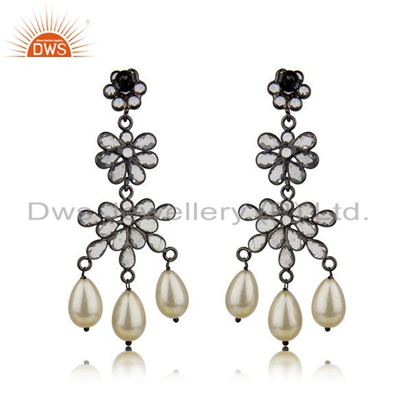 Suppliers Natural Pearl and White Zircon Black 925 Silver Earring Wholesale Suppliers