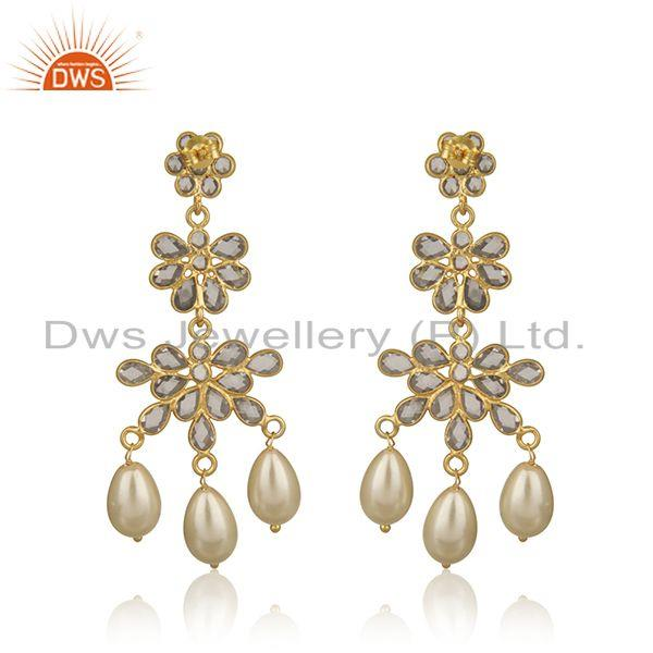 Suppliers Zircon Natural Pearl Gemstone Silver Gold Plated Earrings Jewelry