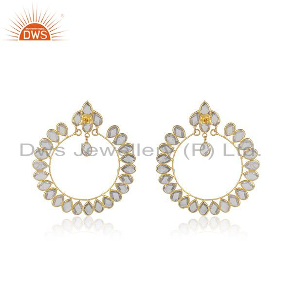Suppliers Gold Plated 925 Silver CZ Designer Indian Earring Jewelry