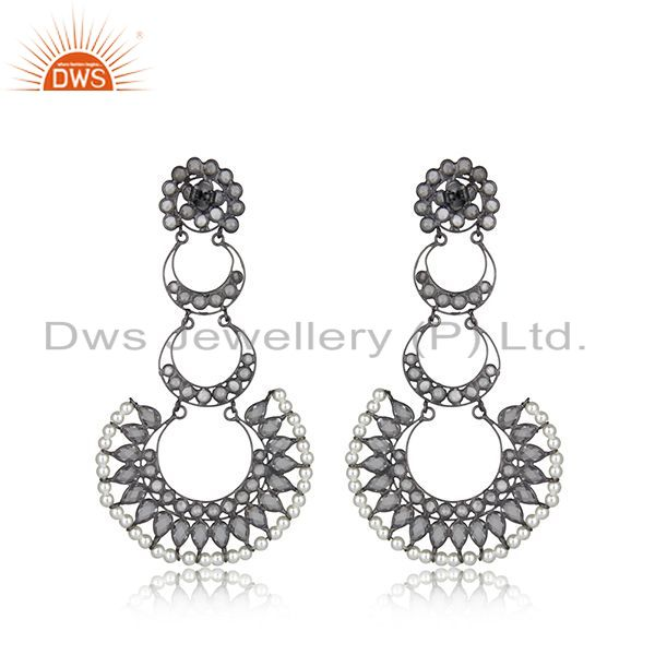 Suppliers Indian Rhodium Plated Silver CZ Pearl Earring Jewelry
