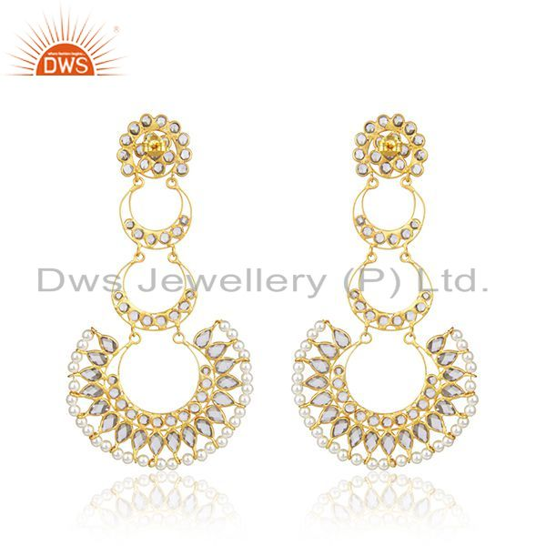 Suppliers CZ Natural Pearl Gemstone Gold Plated Silver Dangle Earring Jewelry