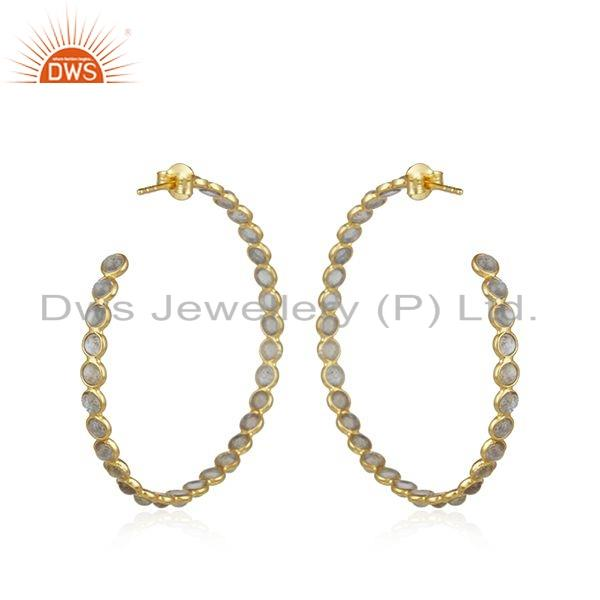 Suppliers Gold Plated Silver Womens Earrings Labradorite Gemstone Jewelry