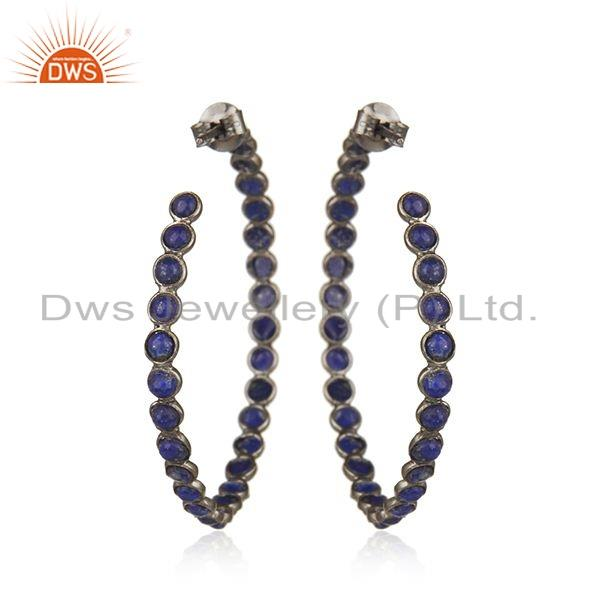 Suppliers Black Rhodium Plated Silver Lapis Gemstone Hoop Earrings Jewelry
