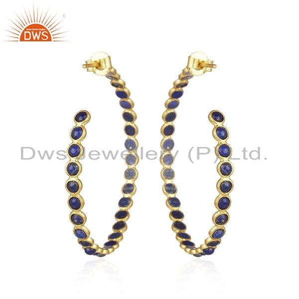 Suppliers Natural Lapis Gemstone Yellow Gold Plated Silver Hoop Earrings Jewelry